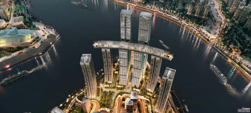 Látványterv a vízszintes felhőkarcolóról