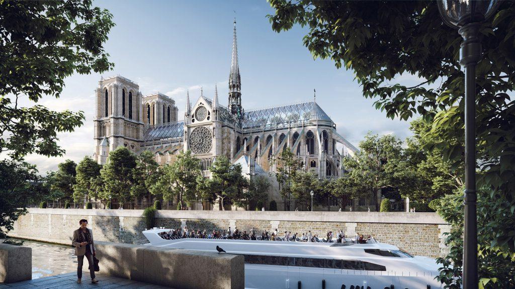 Üvegtető a Notre-Dame tetején
